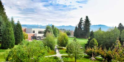 Aerial view of the University of the Fraser Valley Abbotsford campus.